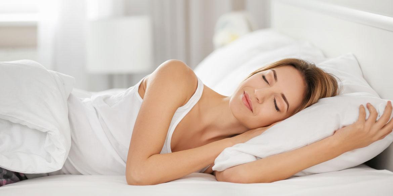 Guter Schlaf, Kissen, Bett, Frau